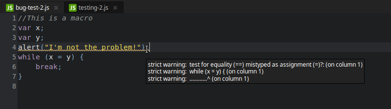 syntax warning in a JS macro
