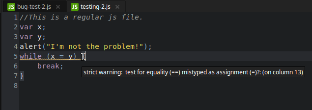 syntax warning in a regular JS file