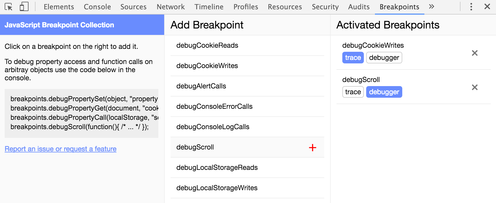 Breakpoint Extension Screenshot