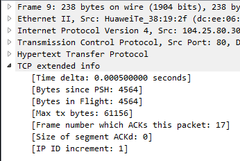 Screenshot of additional protocol tree