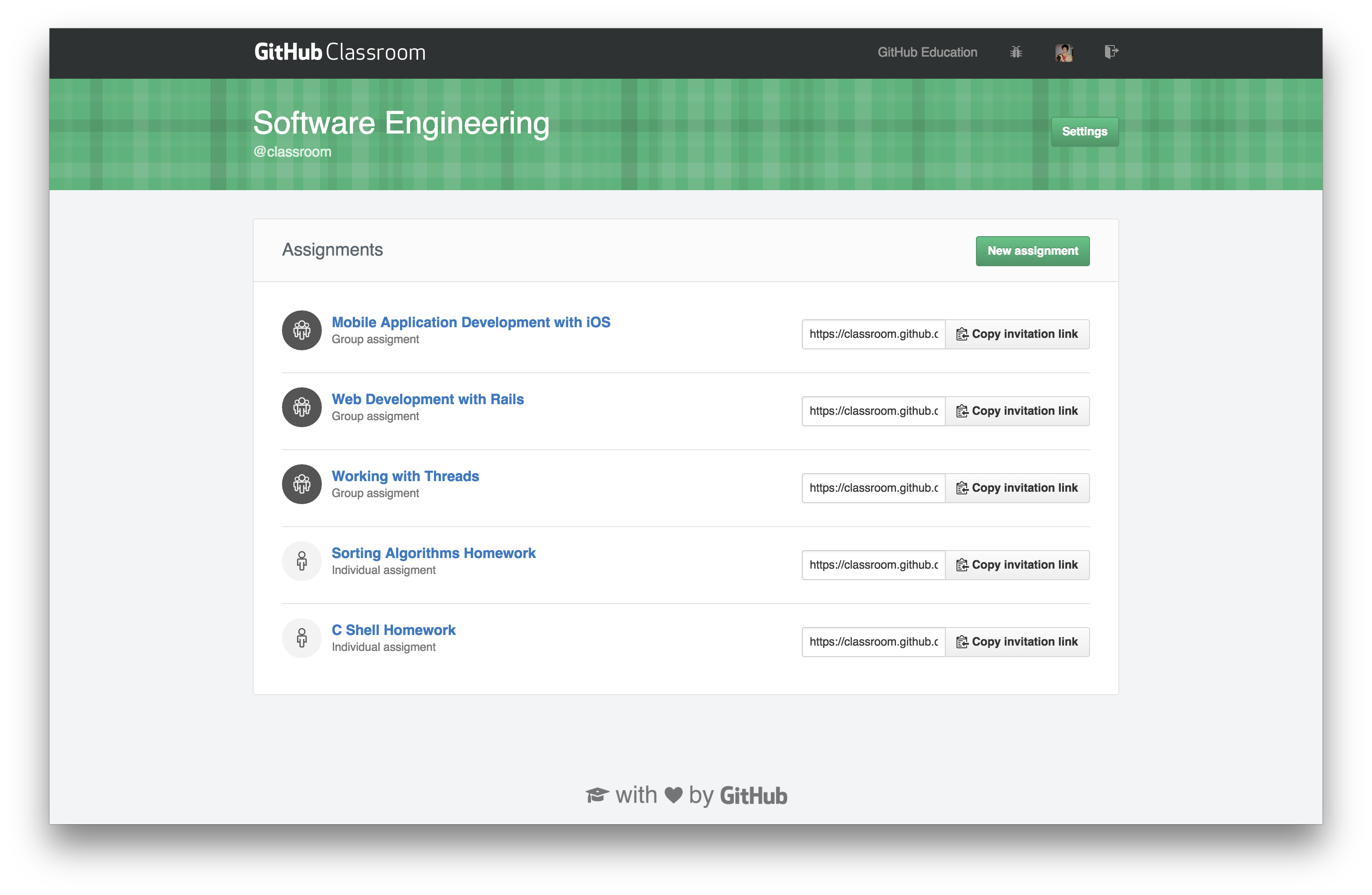 GitHub Classroom screenshot