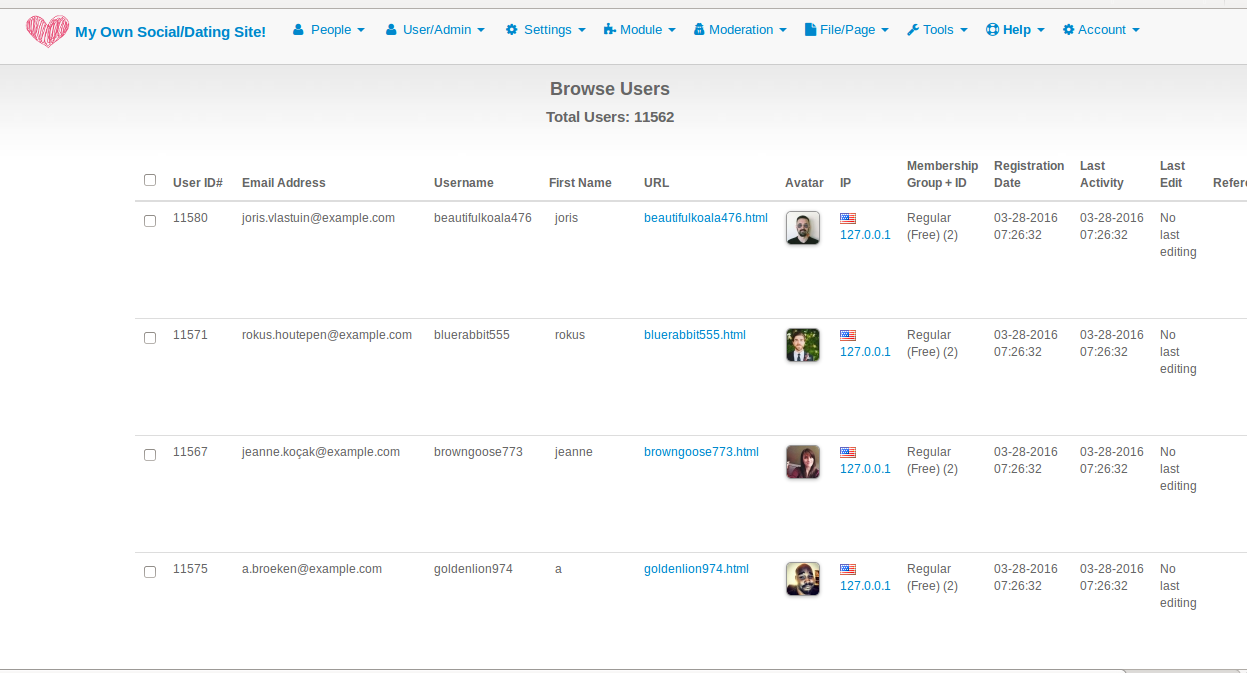 Admin Panel, Browse Users
