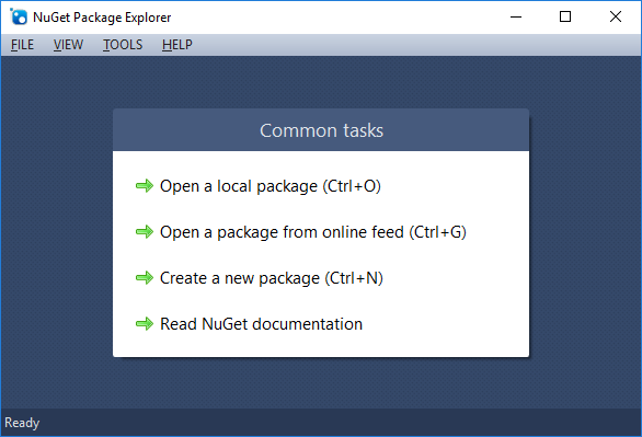Package Explorer's common tasks dialog