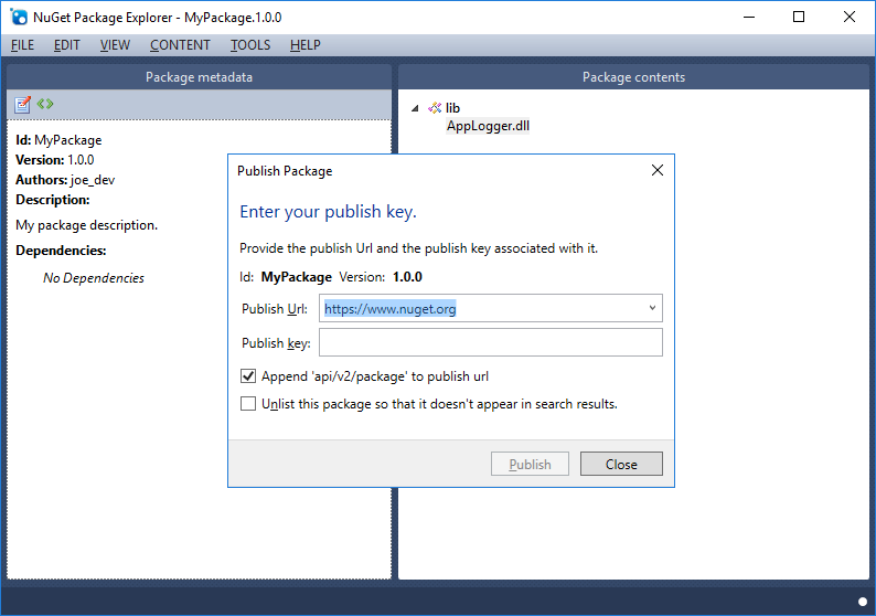 Publish Package Dialog