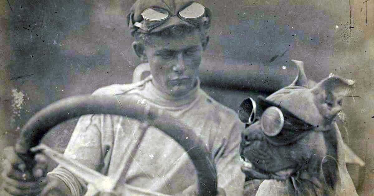 Imagem mostra homem dentro de um carro antigo segurando o volante e observando um cachorro que está sentado no banco ao seu lado