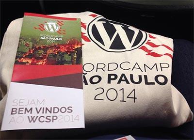 Brindes entregues na abertura do evento WordCamp São Paulo 2014