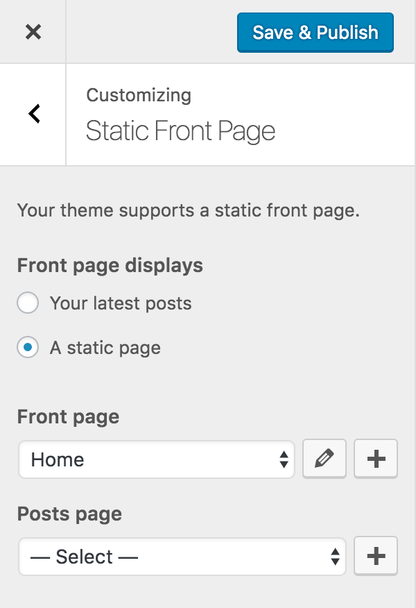 static-front-page-dropdown-pages-controls-with-customize-posts