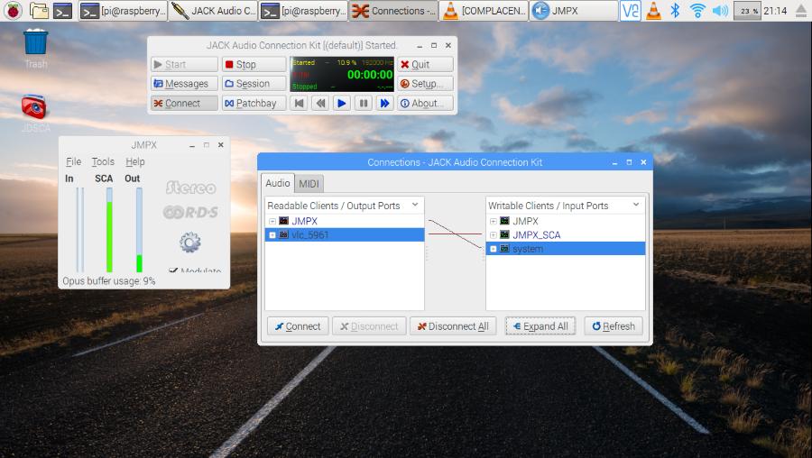 JMPX qjackctl and VLC running