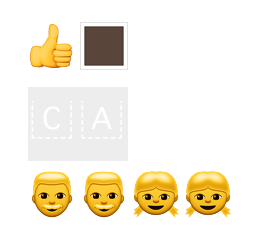 a yellow thumbs up with a dark brown square; two boxes, each with the letters C and A; 4 separate heads in a line