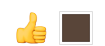 a yellow thumbs up with a dark brown square