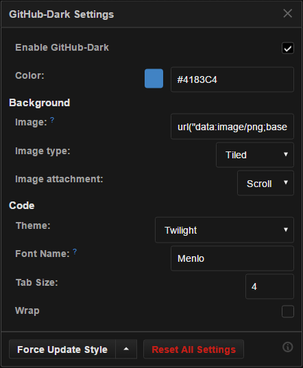 github-dark script settings panel