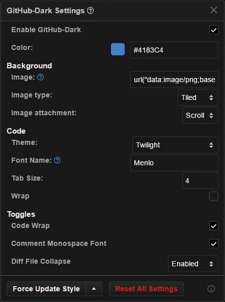 github-dark script settings panel