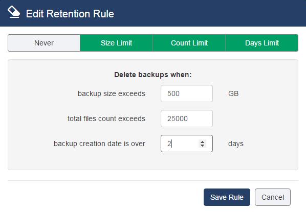 Edit retention rule
