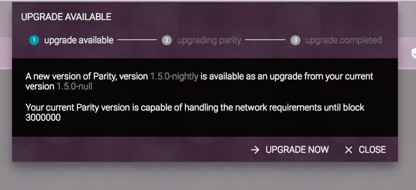Upgrading Parity