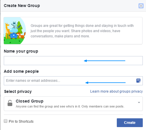 Facebook: Create new group wizard