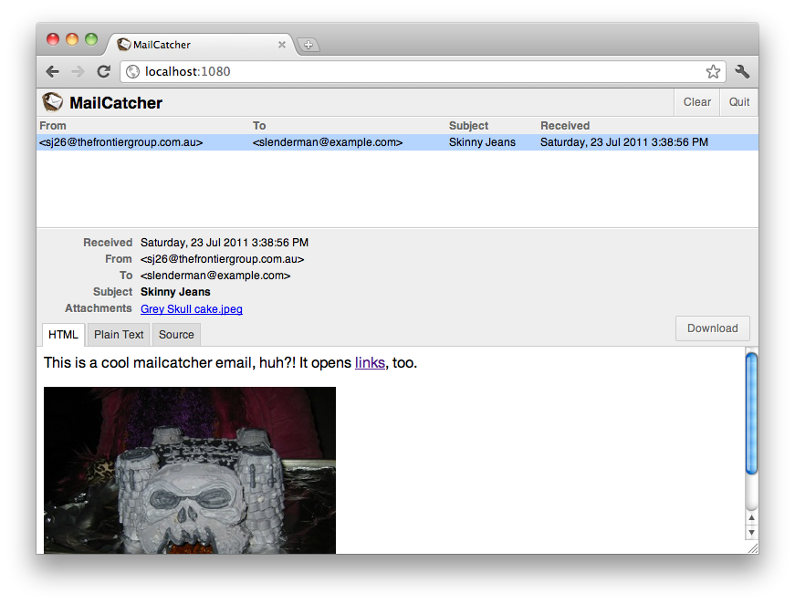 MailCatcher screenshot, courtesy of MailCatcher.me