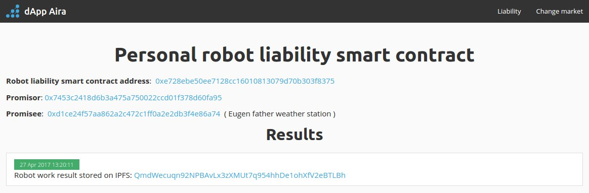 Robot liability smart contract