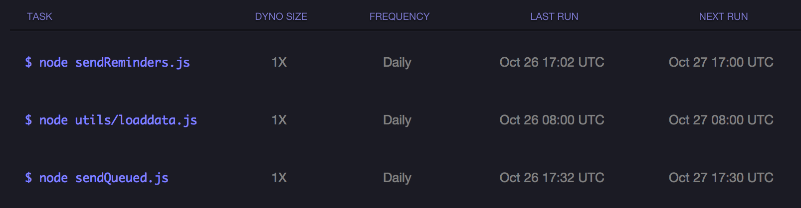 scheduler settings