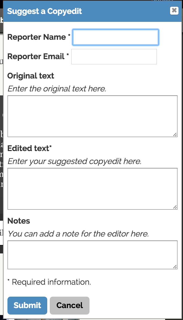 typo reporting form from button above