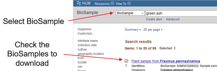 Select BioSamples