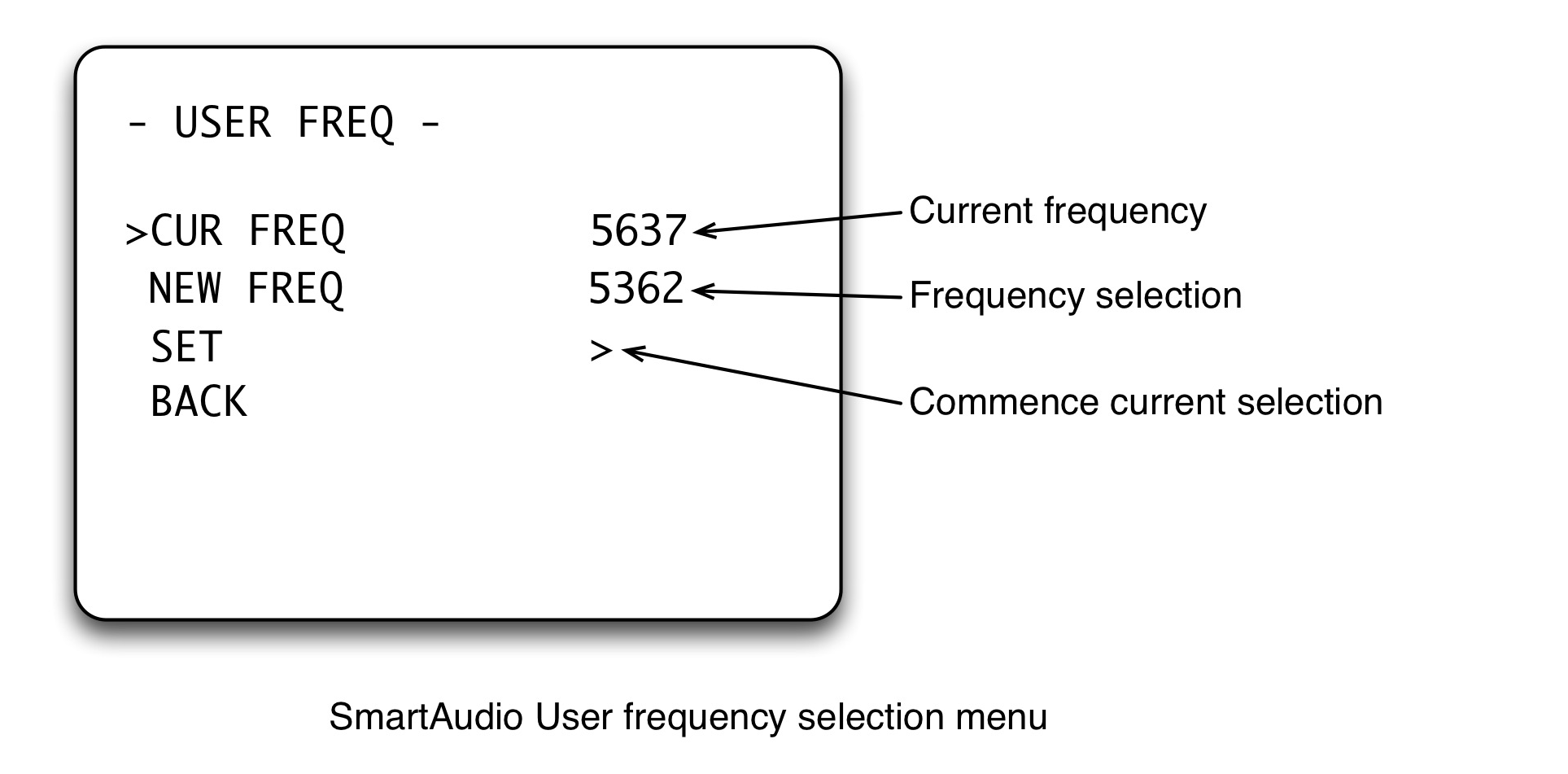 SmartAudio Frequency selection menu