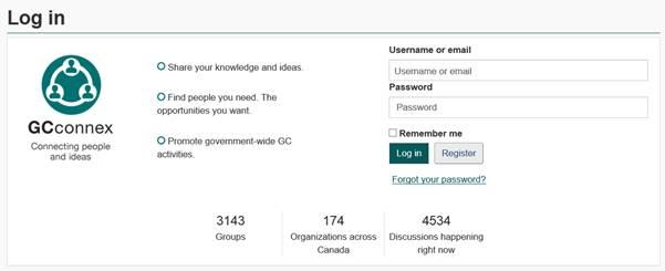 total number groups gcconnex login page