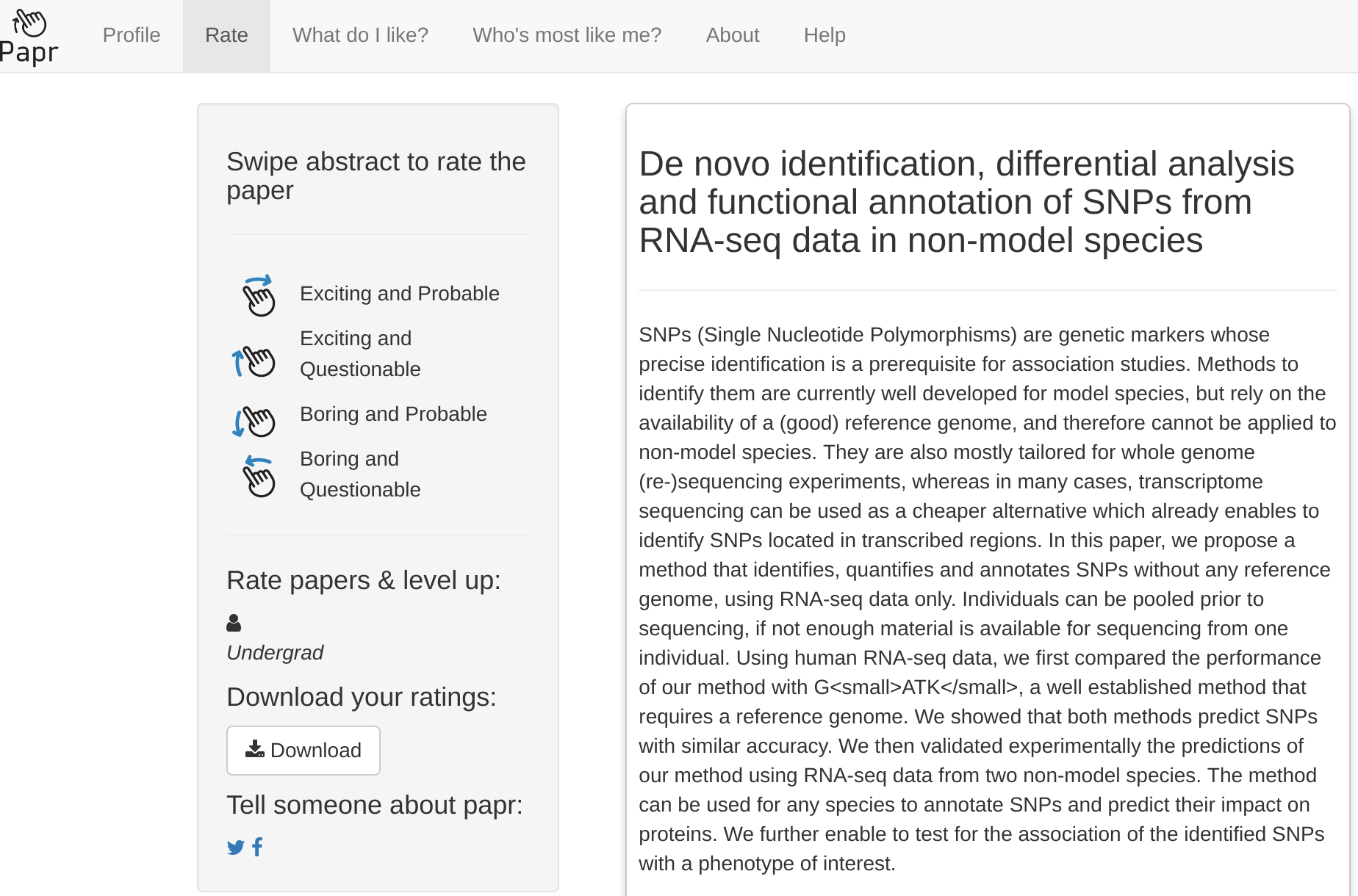 papr – rate papers on biorxiv in a single swipe and help science!