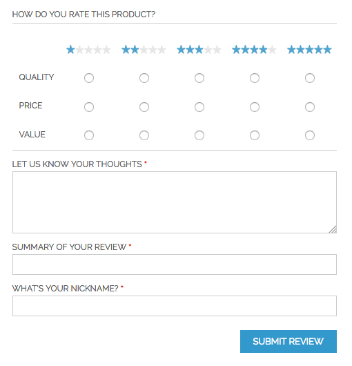 Standard rwd theme review form