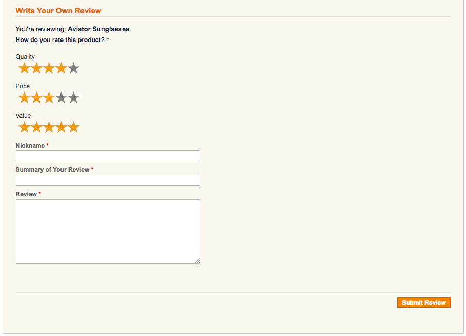 Rating stars on default theme review form