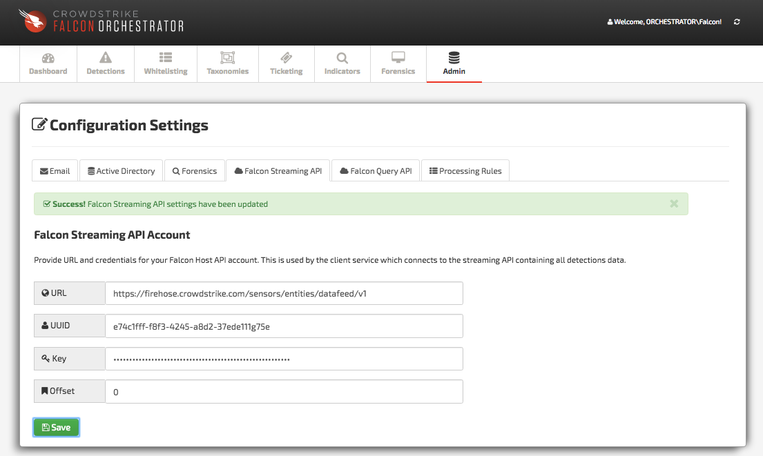 Falcon Streaming API