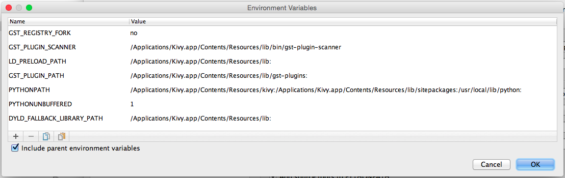 required enviornment variables