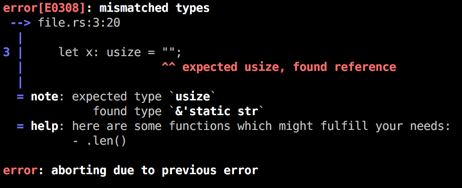 mismatched types error with colorized types in the note