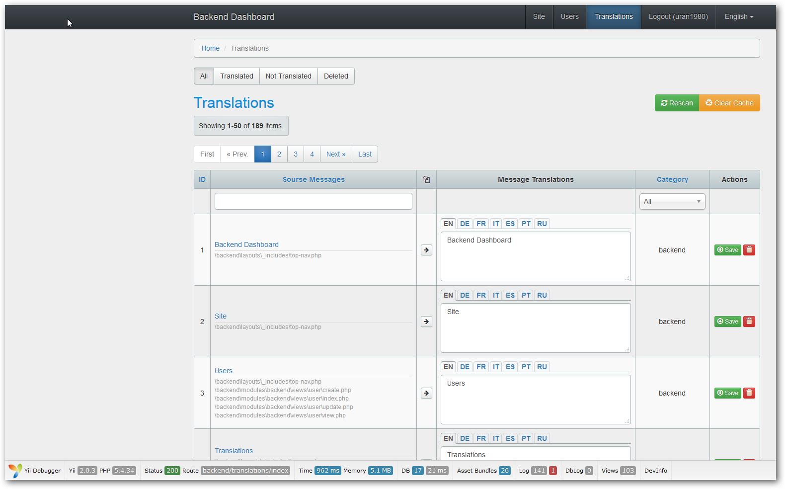 Yii2 Translate Panel screens