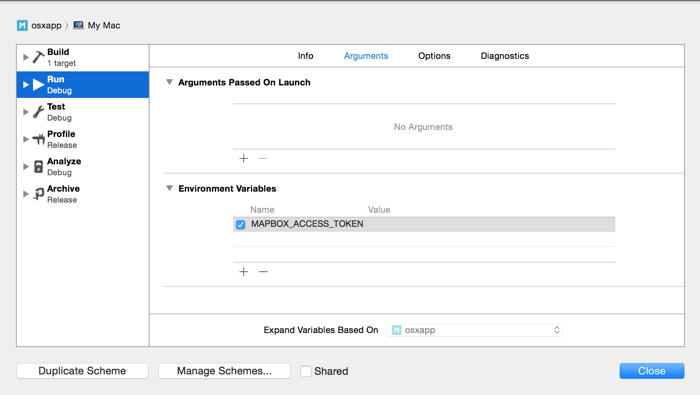 setting access token in Xcode scheme