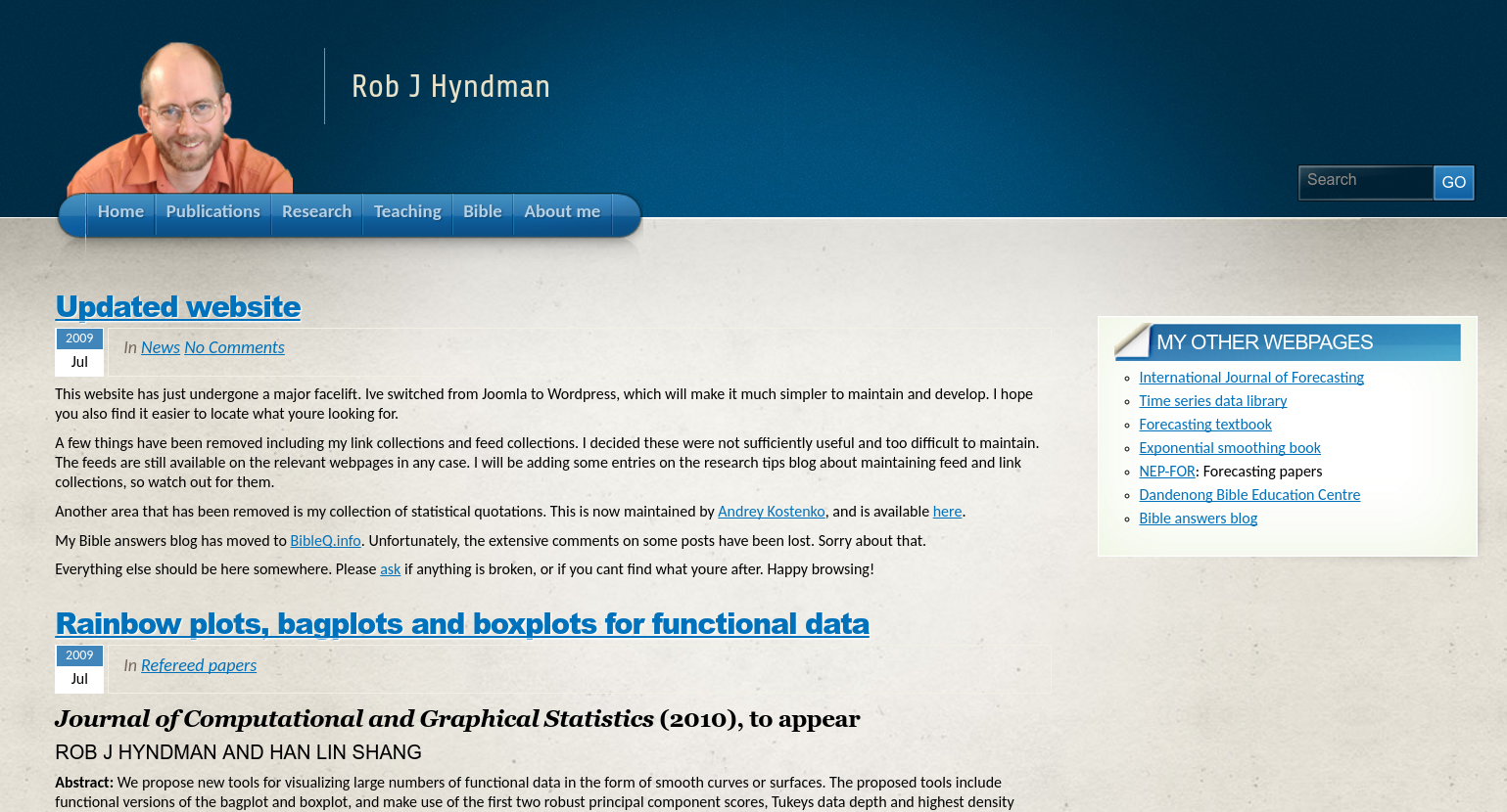 robjhyndman.com in 2009 on Wordpress