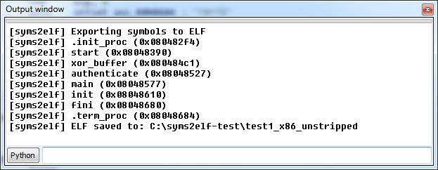 IDA output log