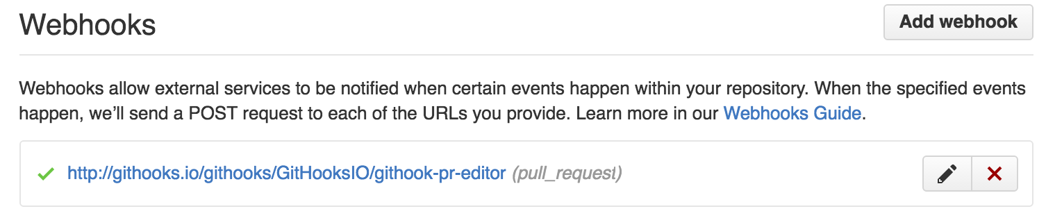 screenshot of webhook entry on github