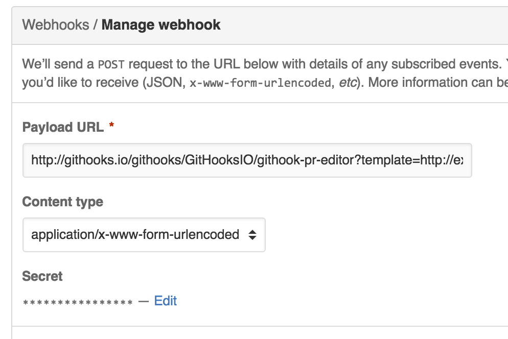 screenshot of webhook config on github