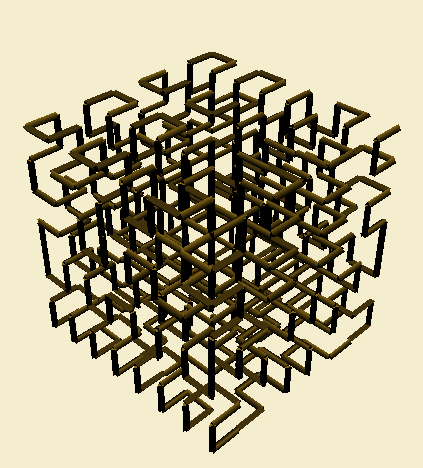 3D Hilbert Curve rendered in Interactive L-System builder.