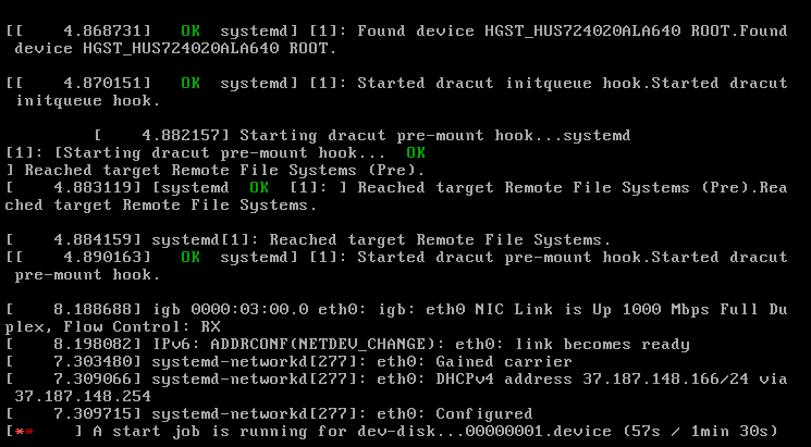 screenshot 1: waiting for /dev/disk/by-