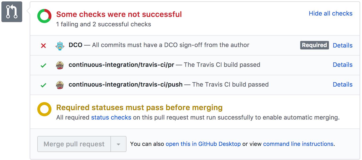 Screenshot of Developer Certificate of Origin app