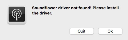 soundflower driver not found please install the driver