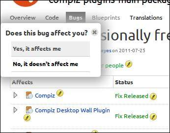 launchpad-bug-page-logged-in-popup
