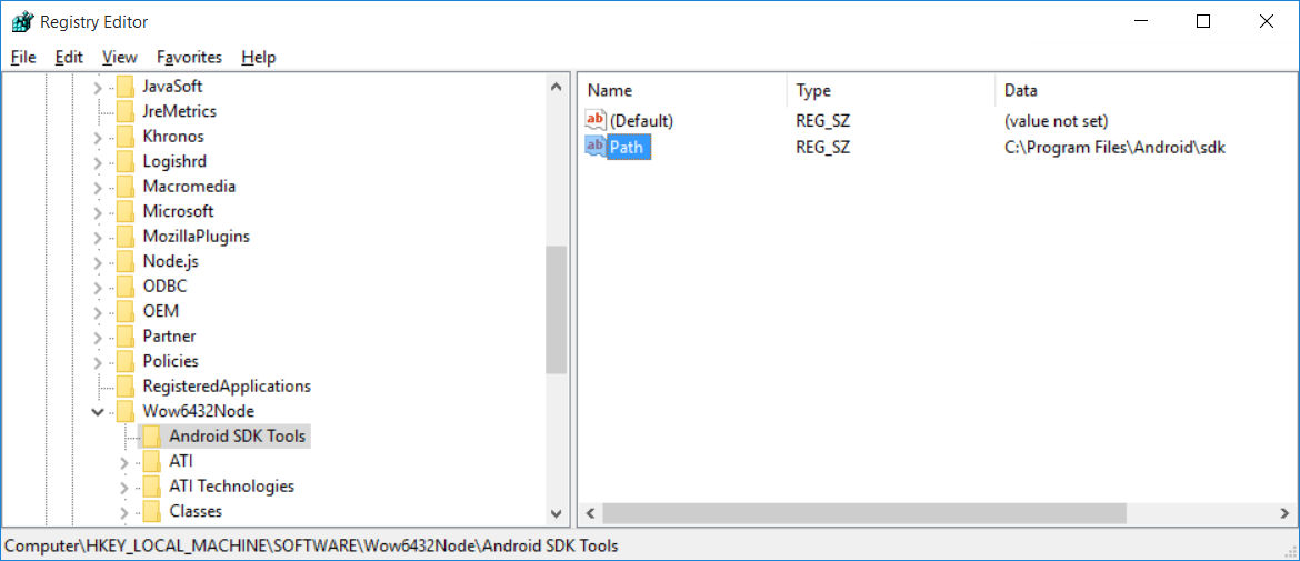 visual studio emulator regedit