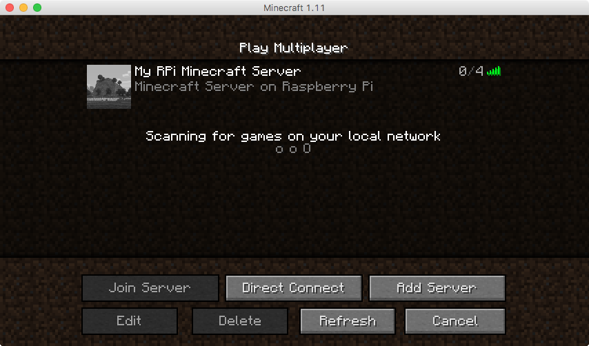 Server list in multiplayer menu