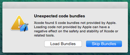 Screenshot of 'unexpected code bundles' dialog