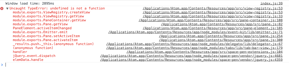 View registry stack trace
