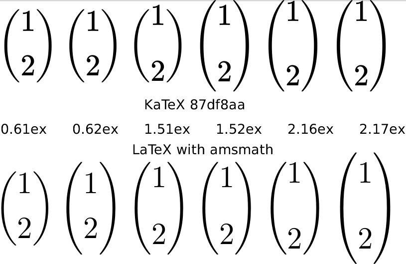 Screenshot comparing KaTeX with LaTeX