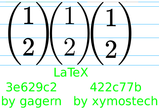 Comparison of three two-row vectors