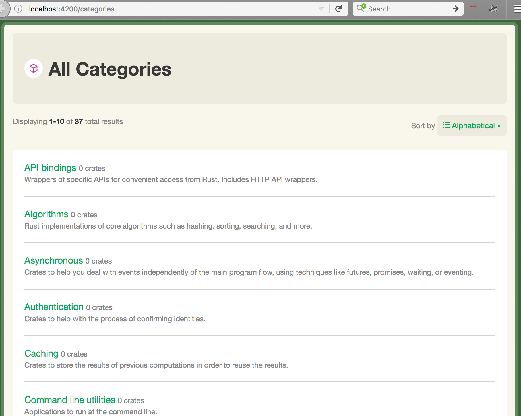 Preview of what the main category list page will look like